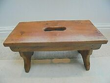 Vintage solid wood hand crafted stool, footstool, pew ended, grab hole