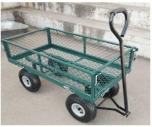 Heavy Duty Utility 4Wheel Garden Trolley Mesh Cart Dump Wheelbarrow Tipper Truck