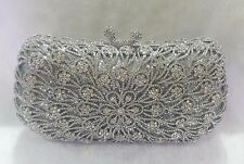 Silver~New~Handmade Austria Crystal Evening Purse Clutch Bag☆Free Shipping☆