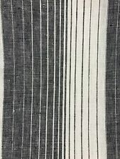 Black and white off white weave 100% linen striped fabric by the yard