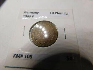 COINS GERMANY FEDERAL REPUBLIC 10 PFENNIG  1969 F # 749