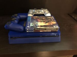 Sony PlayStation 4 Slim 1TB Days of Play Blue Limited Edition 2 Con. 3 Games.