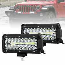 """2Pc 160W LED Work Light 7"""" Triple Row Spot Flood Auxiliary Offroad Driving Light"""