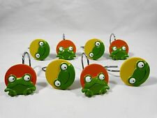 Shower Curtain Hooks Set of 8 GREEN FROGS Yellow Orange Ceramic
