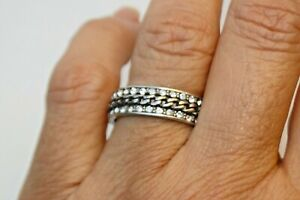 New Brighton Silver & Crystal Band Ring Size 9