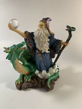 Wizard w/ Ball & Dragon Magician Fantasy Magic Merlin Figurine Sorcerer Mythical