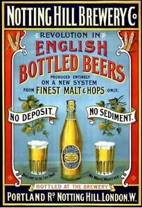 Notting Hill Brewery, English Beers, Pub, Bar & Restaurant, Small Metal Tin Sign