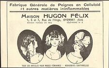 01 OYONNAX MAISON HUGON FELIX FABRIQUE DE PEIGNES EN CELLULOID PUBLICITE 1922