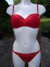 Lise Charmel maillot de bain 2 P brassière CAP ODYSSEE rouge or 95 B/bikini 40