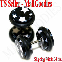 1278 Fake Cheater Illusion Faux Ear Plugs Black & White Stars Design 0G 8mm