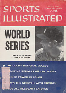 Sports Illustrated 10-1-56 Mickey Mantle World Series Cover, Ex Condition!
