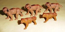 vintage Lineol Elastolin lot of 5 young baby ape animal figures