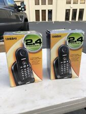 (2) Uniden 2.4 Ghz Model Exp4541 Cordless Phones Black (1 New And Sealed) Nos