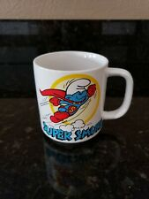 1981 Super Smurf Mug Coffee Cup Wallace Berrie Vintage 80's Cartoon