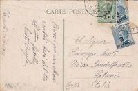 ITALIA COLONIE Costantinopoli 1922 Cartolina Illustrata 30 para + 3 piastre x 2