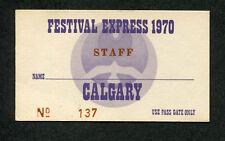Original 1970 Festival Express concert staff ticket Janis Joplin Grateful Dead