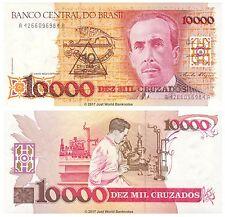 Brazil 10 Cruzados on 10000 Cruzados ND (1989-90)  P-218b Banknotes UNC