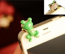 2pcs Green frog crystal charm Earphone Stopper Jack anti dust plug Cap for Phone