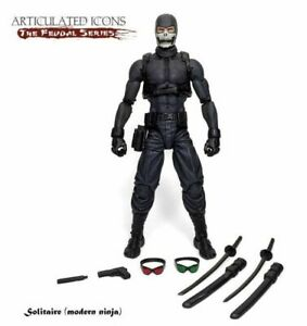 "Fwoosh Articulated Icons Feudal Series Solitaire (Modern Ninja) 6"" figure"