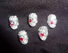 (5pcs) 3D silver skull diamond halloween nail art charms acrylic gel NEW #H9