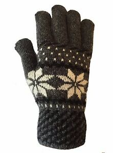 MENS THERMAL SNOWFLAKE KNITTED WINTER GLOVES