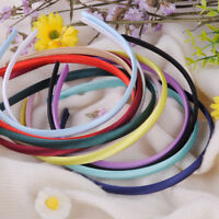 10x Mixed Color Headband Covered Satin Hair Band Women Girls Hair Accessory 10mm