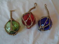3 Fishing Boat Net Floats Blown Glass Nautical Seaside Beach