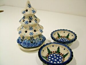 POLISH ART POTTERY CHRISTMAS TREE TEA LIGHT HOLDER HAND PAINTED BOLESLAWIEC JJ