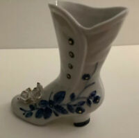 """Vintage Porcelain Heeled Boot With Flowers, Leaves And Buttons - 5"""" Tall"""