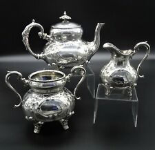 STUNNING MELON STYLE EMBOSSED 3 PIECE TEASET SUGAR CREAMER TEAPOT SILVER PLATED