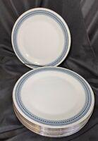 "Set of 8 ROYAL DOULTON GREYFRIARS Bone China 10 5/8"" Dinner Plates Blue Silver"