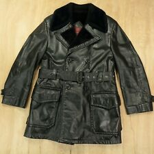 vtg 70s 80s ANDERSON-LITTLE lined leather jacket coat sherpa black pimp