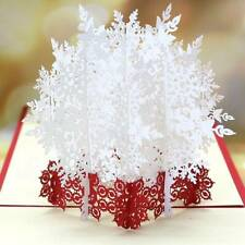 3D Pop Up White Snowflake Christmas Greeting Cards Xmas Festival New Year #1b8