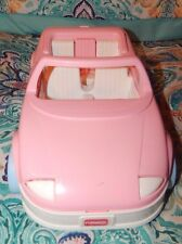 Vintage Playskool Doll House Pink convertible Car w/ trunk door & Car Seat EUC