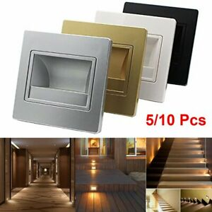 5/10pcs Recessed Led Wall Lights Stair Lamp Pathway Walkway Night Light Square