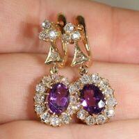 4Ct Oval Cut Amethyst Diamond Drop/Dangle Earrings Solid 14K Yellow Gold Finish