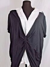 Style Co Layered Black Shirt Over White Faux Collared Blouse Plus 1X to 2X
