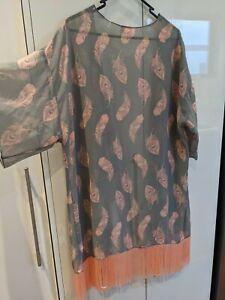 Women's LuLaRoe Monroe Kimono Grey Peach Feathers Fringe Large 14 16 18 chiffon