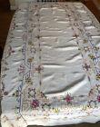 vintage Ecru  tablecloth & 12 napkins Crosstitch Floral Pattern 96 x 58