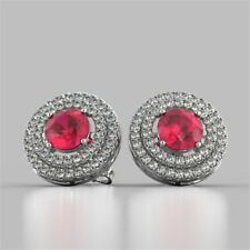 Pave 3.25 Cts Natural Diamonds Ruby Halo Stud Earrings In Fine Hallmark 14K Gold
