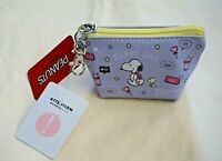 Japan Peanuts Purple Snoopy HAPPY DAY Triangle Mini Zipper Pouch Wallet Keychain