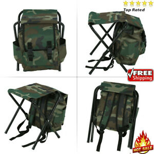 Backpack Foldable Fishing Chair Stool Set With Storage Bag Box Camping Hiking