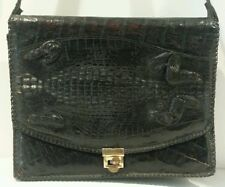 Large Vintage Genuine Alligator Skin Shoulder Bag-Flap Close-Florida-CowBoy Gear