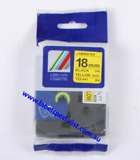 Laminated Brother P-Touch TZ (TZ2)-641compatible18mmx8mm Black-On-Yellow Tape