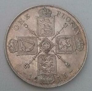 1915 Silver Florin Coin Extra Fine King George V