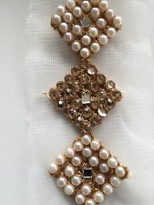 ATTRACTIVE INDIAN PEARLS CRYSTALS MIRROR SQUARES LACE/TRIM ON NET -Sold By METER