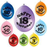 Birthday Balloons Age Happy Party Latex Air Fill Boy Girl Kids Decoration Event
