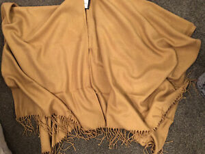 M&S Poncho Cape Wrap BNWT One Size Camel Colour With Gold Lurex RRP £35
