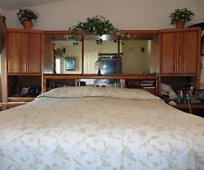 KING SIZE SOLID OAK HEADBOARD w/TOWERS & MATCHING ARMOIRE