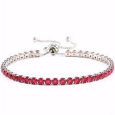 Bracelet With 8.45ctw Light Ruby in 14k White Gold Filled Bracelet is Adjustable